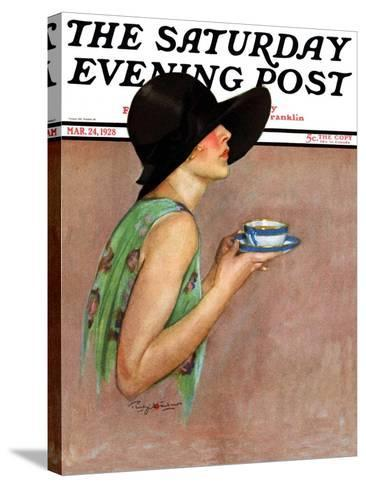 """""""Lady in Wide Brim Hat Holding Tea Cup,"""" Saturday Evening Post Cover, March 24, 1928-Penrhyn Stanlaws-Stretched Canvas Print"""