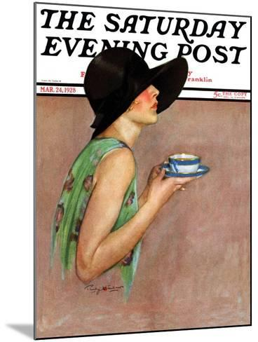 """""""Lady in Wide Brim Hat Holding Tea Cup,"""" Saturday Evening Post Cover, March 24, 1928-Penrhyn Stanlaws-Mounted Giclee Print"""