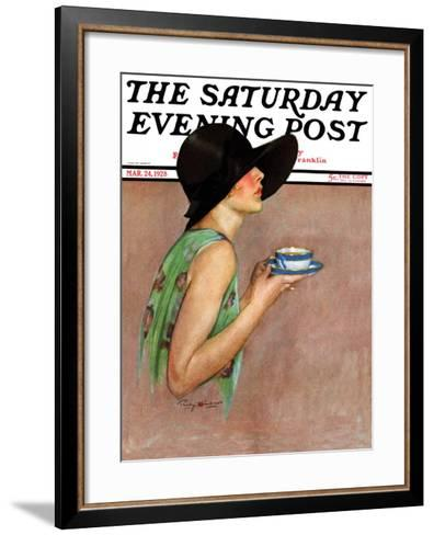 """""""Lady in Wide Brim Hat Holding Tea Cup,"""" Saturday Evening Post Cover, March 24, 1928-Penrhyn Stanlaws-Framed Art Print"""