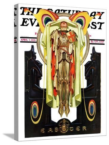 """""""Easter, 1928,"""" Saturday Evening Post Cover, April 7, 1928-Joseph Christian Leyendecker-Stretched Canvas Print"""