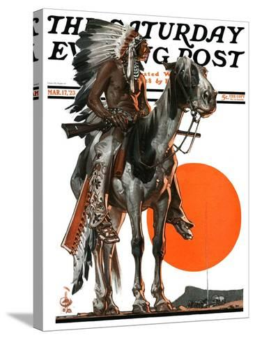 """""""Indian Sunset,"""" Saturday Evening Post Cover, March 17, 1923-Joseph Christian Leyendecker-Stretched Canvas Print"""