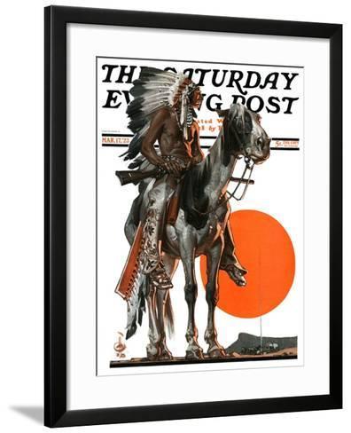 """Indian Sunset,"" Saturday Evening Post Cover, March 17, 1923-Joseph Christian Leyendecker-Framed Art Print"