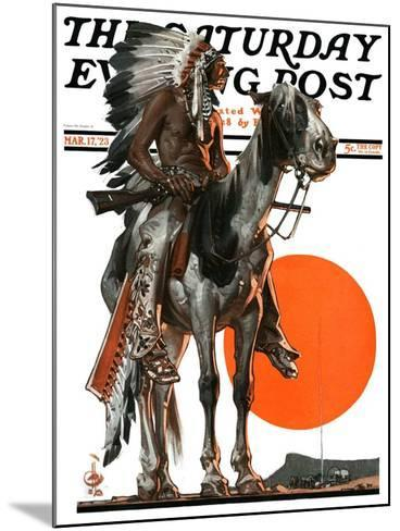 """""""Indian Sunset,"""" Saturday Evening Post Cover, March 17, 1923-Joseph Christian Leyendecker-Mounted Giclee Print"""