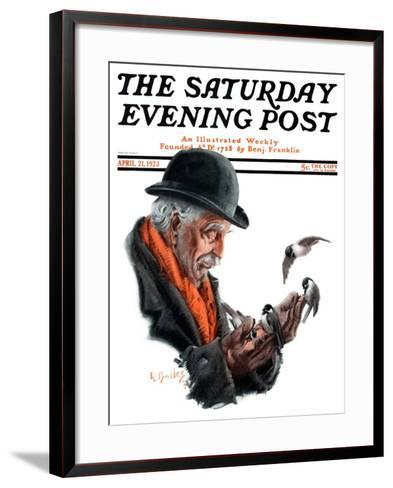 """Man Feeding Birds,"" Saturday Evening Post Cover, April 21, 1923-R^ Bolles-Framed Art Print"