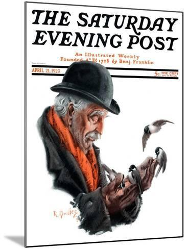 """""""Man Feeding Birds,"""" Saturday Evening Post Cover, April 21, 1923-R^ Bolles-Mounted Giclee Print"""