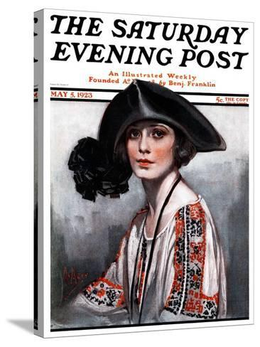 """""""Woman in Embroidered Blouse,"""" Saturday Evening Post Cover, May 5, 1923-Neysa Mcmein-Stretched Canvas Print"""