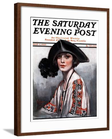 """""""Woman in Embroidered Blouse,"""" Saturday Evening Post Cover, May 5, 1923-Neysa Mcmein-Framed Art Print"""