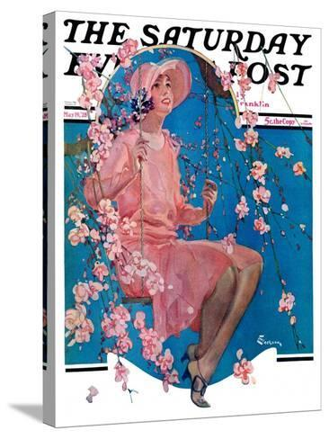 """""""Woman on Floral Swing,"""" Saturday Evening Post Cover, May 19, 1928-Elbert Mcgran Jackson-Stretched Canvas Print"""