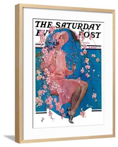 """Woman on Floral Swing,"" Saturday Evening Post Cover, May 19, 1928-Elbert Mcgran Jackson-Framed Art Print"