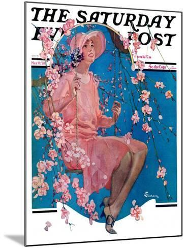 """""""Woman on Floral Swing,"""" Saturday Evening Post Cover, May 19, 1928-Elbert Mcgran Jackson-Mounted Giclee Print"""