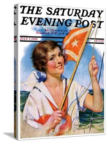 """""""Woman with Signal Flag,"""" Saturday Evening Post Cover, July 7, 1928-Bradshaw Crandall-Stretched Canvas Print"""