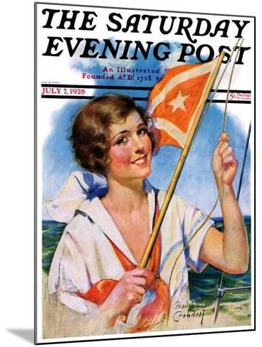 """""""Woman with Signal Flag,"""" Saturday Evening Post Cover, July 7, 1928-Bradshaw Crandall-Mounted Giclee Print"""