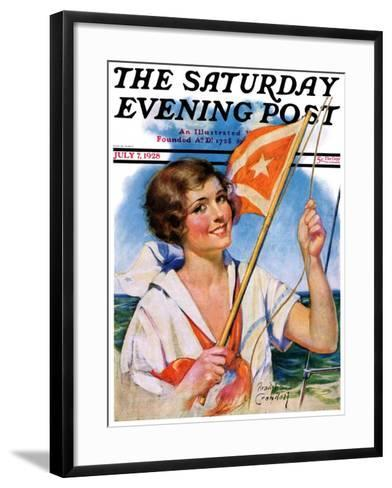 """""""Woman with Signal Flag,"""" Saturday Evening Post Cover, July 7, 1928-Bradshaw Crandall-Framed Art Print"""