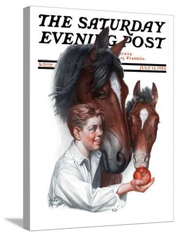 """Boy Feedy Apple to Horses,"" Saturday Evening Post Cover, July 14, 1923-Leslie Thrasher-Stretched Canvas Print"