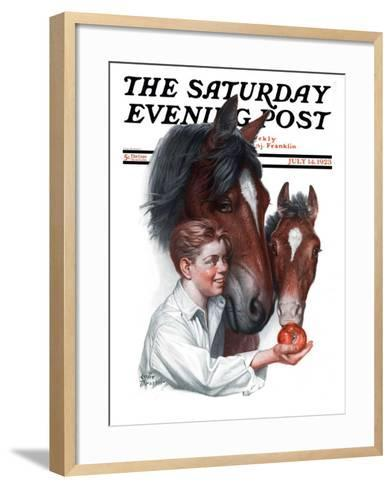 """Boy Feedy Apple to Horses,"" Saturday Evening Post Cover, July 14, 1923-Leslie Thrasher-Framed Art Print"