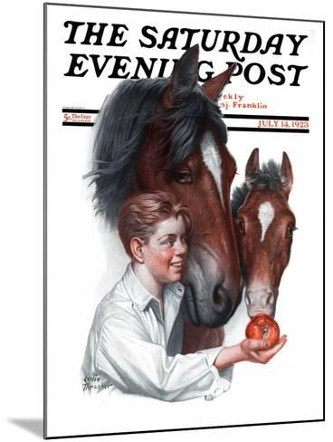 """Boy Feedy Apple to Horses,"" Saturday Evening Post Cover, July 14, 1923-Leslie Thrasher-Mounted Giclee Print"