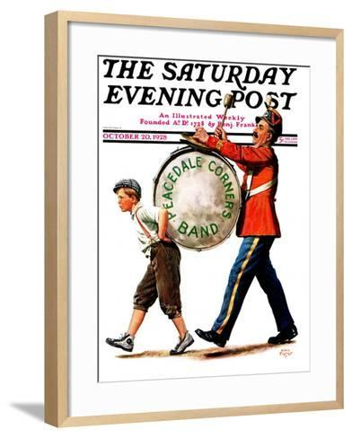 """Peacedale Corners Band,"" Saturday Evening Post Cover, October 20, 1928-Alan Foster-Framed Art Print"