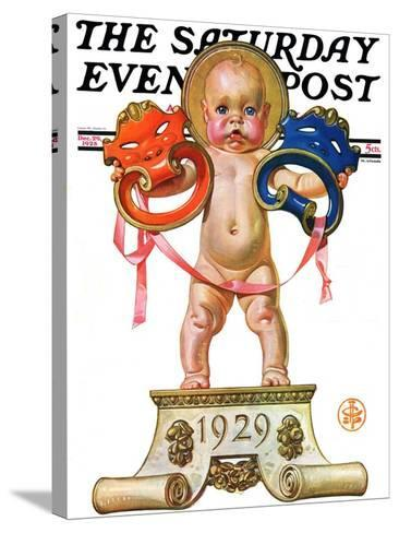 """""""Dramatic New Year,"""" Saturday Evening Post Cover, December 29, 1928-Joseph Christian Leyendecker-Stretched Canvas Print"""