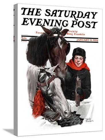 """Boy Watering Horses,"" Saturday Evening Post Cover, January 12, 1924-Leslie Thrasher-Stretched Canvas Print"