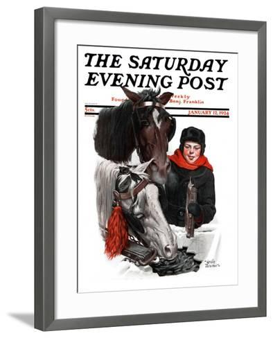 """Boy Watering Horses,"" Saturday Evening Post Cover, January 12, 1924-Leslie Thrasher-Framed Art Print"