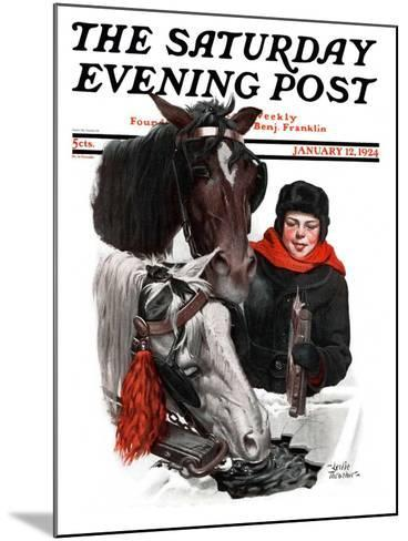 """Boy Watering Horses,"" Saturday Evening Post Cover, January 12, 1924-Leslie Thrasher-Mounted Giclee Print"