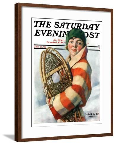 """""""Woman and Snowshoes,"""" Saturday Evening Post Cover, January 26, 1929-William Haskell Coffin-Framed Art Print"""