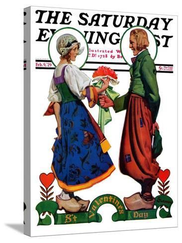"""Dutch Couple Valentine,"" Saturday Evening Post Cover, February 9, 1929-Elbert Mcgran Jackson-Stretched Canvas Print"