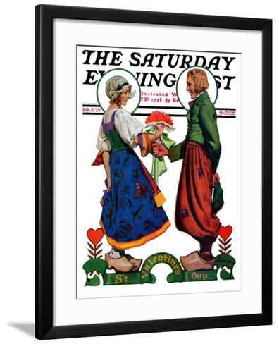 """Dutch Couple Valentine,"" Saturday Evening Post Cover, February 9, 1929-Elbert Mcgran Jackson-Framed Art Print"