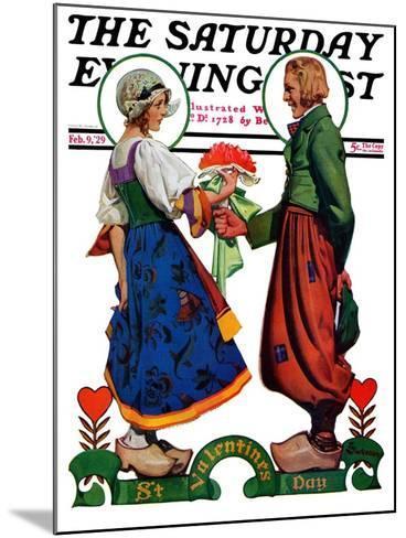 """Dutch Couple Valentine,"" Saturday Evening Post Cover, February 9, 1929-Elbert Mcgran Jackson-Mounted Giclee Print"