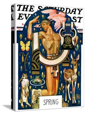 """""""Spring 1929,"""" Saturday Evening Post Cover, March 30, 1929-Joseph Christian Leyendecker-Stretched Canvas Print"""