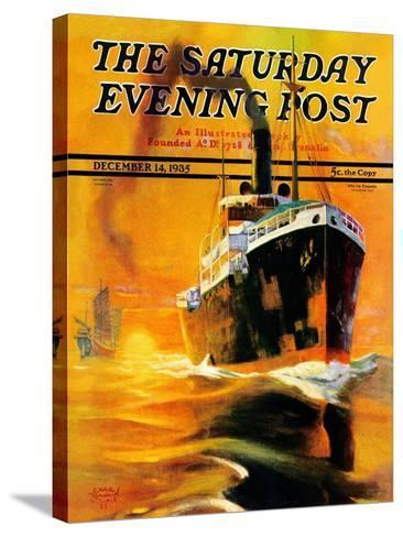 """""""Freighter,"""" Saturday Evening Post Cover, December 14, 1935-Edgar Franklin Wittmack-Stretched Canvas Print"""