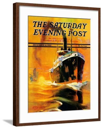 """Freighter,"" Saturday Evening Post Cover, December 14, 1935-Edgar Franklin Wittmack-Framed Art Print"