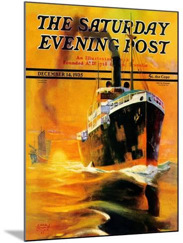 """""""Freighter,"""" Saturday Evening Post Cover, December 14, 1935-Edgar Franklin Wittmack-Mounted Giclee Print"""