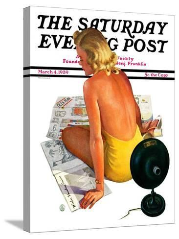 """""""Sunlamp,"""" Saturday Evening Post Cover, March 4, 1939-Robert P. Archer-Stretched Canvas Print"""