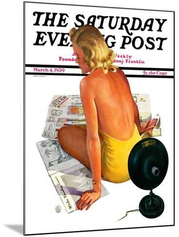"""""""Sunlamp,"""" Saturday Evening Post Cover, March 4, 1939-Robert P. Archer-Mounted Giclee Print"""