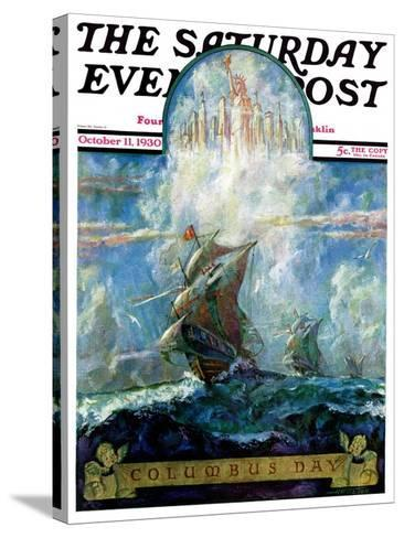 """""""Columbus Day,"""" Saturday Evening Post Cover, October 11, 1930-H.W. Tilson-Stretched Canvas Print"""