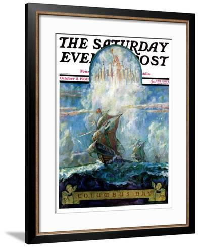 """Columbus Day,"" Saturday Evening Post Cover, October 11, 1930-H.W. Tilson-Framed Art Print"