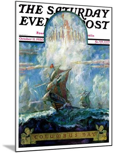 """""""Columbus Day,"""" Saturday Evening Post Cover, October 11, 1930-H.W. Tilson-Mounted Giclee Print"""