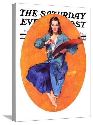 """""""Artist and Her Palette,"""" Saturday Evening Post Cover, September 9, 1933-John LaGatta-Stretched Canvas Print"""