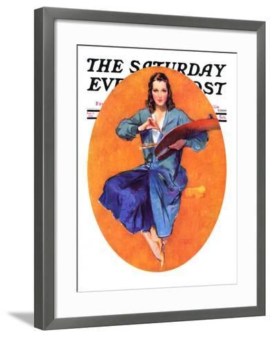 """""""Artist and Her Palette,"""" Saturday Evening Post Cover, September 9, 1933-John LaGatta-Framed Art Print"""