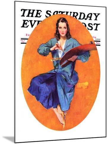 """""""Artist and Her Palette,"""" Saturday Evening Post Cover, September 9, 1933-John LaGatta-Mounted Giclee Print"""