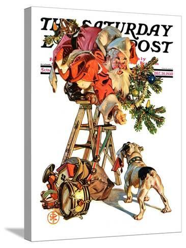 """Santa Up a Ladder,"" Saturday Evening Post Cover, December 20, 1930-Joseph Christian Leyendecker-Stretched Canvas Print"