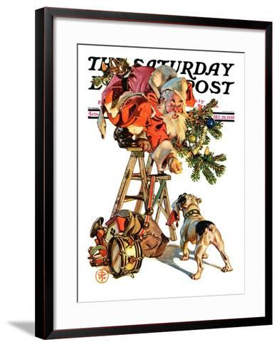 """Santa Up a Ladder,"" Saturday Evening Post Cover, December 20, 1930-Joseph Christian Leyendecker-Framed Art Print"