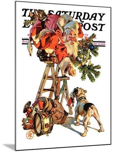 """Santa Up a Ladder,"" Saturday Evening Post Cover, December 20, 1930-Joseph Christian Leyendecker-Mounted Giclee Print"