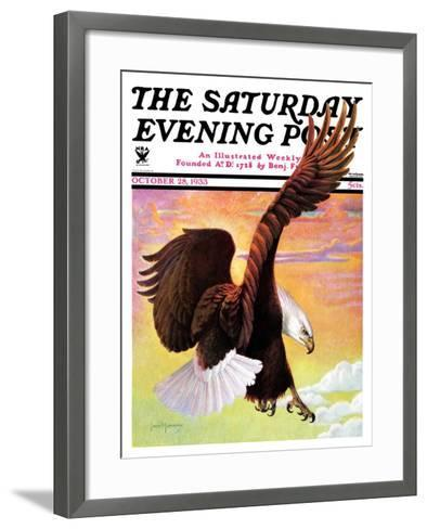 """Soaring Bald Eagle,"" Saturday Evening Post Cover, October 28, 1933-Jack Murray-Framed Art Print"