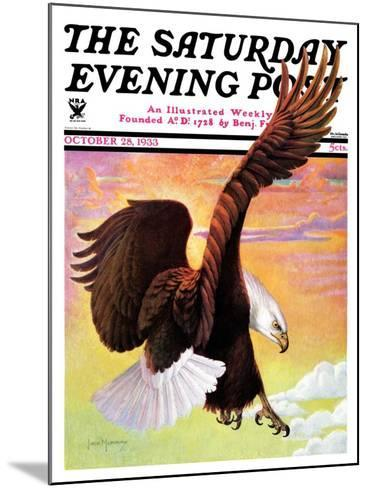 """""""Soaring Bald Eagle,"""" Saturday Evening Post Cover, October 28, 1933-Jack Murray-Mounted Giclee Print"""