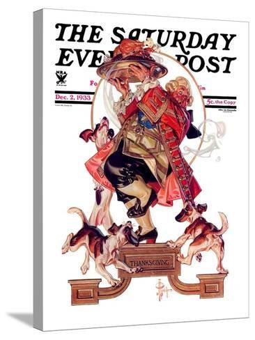 """""""Begging for Turkey,"""" Saturday Evening Post Cover, December 2, 1933-Joseph Christian Leyendecker-Stretched Canvas Print"""