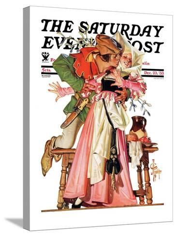 """""""Stealing a Christmas Kiss,"""" Saturday Evening Post Cover, December 23, 1933-Joseph Christian Leyendecker-Stretched Canvas Print"""