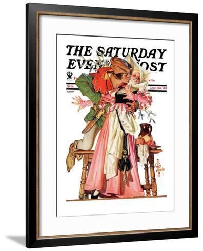 """Stealing a Christmas Kiss,"" Saturday Evening Post Cover, December 23, 1933-Joseph Christian Leyendecker-Framed Art Print"