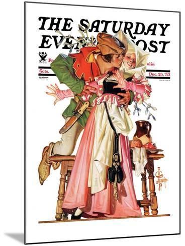 """Stealing a Christmas Kiss,"" Saturday Evening Post Cover, December 23, 1933-Joseph Christian Leyendecker-Mounted Giclee Print"